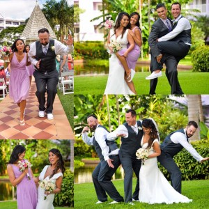 A montage of pictures from Austin and Christine 's wedding